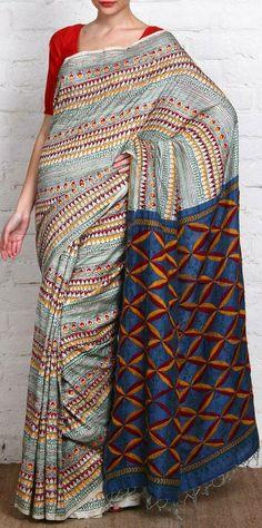 Tussar Silk Saree With Kantha Work. original pin by @webjournal