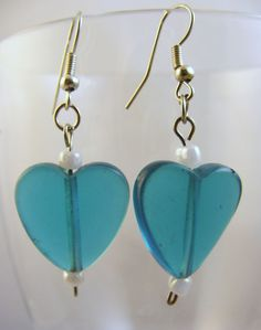 Turquoise Aqua Glass Heart Beads Earrings Beautiful Summer Look Free Shipping #BullockDorchesterCollection #DropDangle