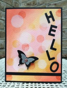 Stampin' Up! SU Little Letters w Papillon Bokeh . luv the soft look of pinks and yellows in the bokeh dots contrasting with the black die cut letters for HELLO . Butterfly Cards, Flower Cards, Bee Cards, Bee Design, Animal Cards, Card Sketches, Potpourri, Stampin Up Cards, Making Ideas