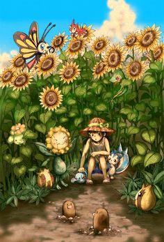 Tags: Fanart, Pokémon, Pachirisu, Beautifly, Sunkern, Wurmple, Diglett, Sunflora, Snivy