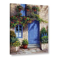 "Charlton Home Provence Blue Door Painting Print on Wrapped Canvas Size: 18"" H x 14"" W x 2"" D"