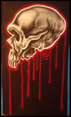 Neanderthal Skull// Some Airbrush work of mine done this past year in 2014. Freehand with Paasche and Badger airbrushes.