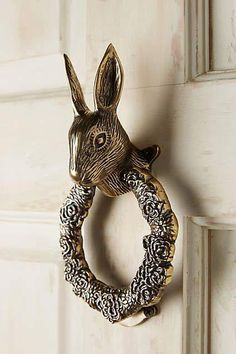 High Quality Silver Rabbit   Door Knocker On White Door