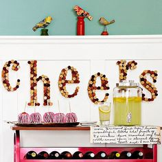 Raise your wine glass and celebrate the new season with a cheerful ode to autumn. Our wall craft features multicolored wine corks, cut and glued together, on a backdrop of wooden letters. You can find precut wooden letters at your nearest crafts store./