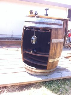 Wine barrel bottle and glass holder by MendAgain on Etsy, $300.00