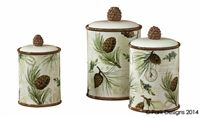 Walk in the Woods Canister Set; Pinecone Canisters; Rustic, Cabin, Lake, Lodge, Western, Southwest Furniture; The Refuge Lifestyle