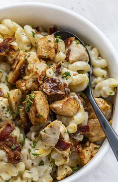 Bowl of Chicken Bacon Ranch Macaroni and Cheese with Spoon Elbow Macaroni Recipes, Pasta Recipes, Macaroni And Cheese, Chicken Recipes, Cooking Recipes, Top Recipes, Simple Recipes, Crockpot Recipes, Chicken Bacon Ranch Casserole