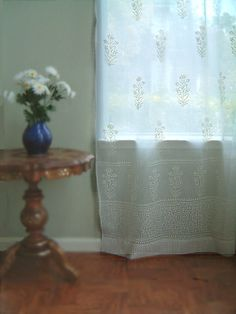 Tulip Mist ~ Elegant White Cotton Sheer Curtain Panel Details - I want these Sheer Curtain Panels, Sheer Drapes, Window Drapes, Window Coverings, Panel Curtains, Window Treatments, Moroccan Curtains, Bohemian Curtains, White Lace Curtains