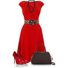 Red and Animal Print by daiscat on Polyvore featuring Sergio Rossi, Kate Spade, Dosa, Oscar de la Renta and Preen