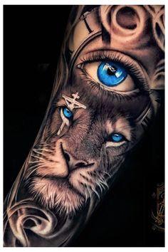 Lion Leg Tattoo, Tiger Tattoo Sleeve, Realistic Tattoo Sleeve, Lion Forearm Tattoos, Tattoos Realistic, Lion Tattoo Sleeves, Wolf Eye Tattoo, Lion Head Tattoos, Mens Lion Tattoo
