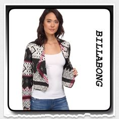 SALEBillabong Last Horizon Quilted Jacket Lightweight quilted jacket features novelty lapel, long cuffed sleeves in a black and white print with pink embroidered detailing Billabong Jackets & Coats