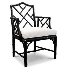 Black Chippendale Arm Chair: Classic Bamboo Pattern with a Bold Black Finish #JonathanAdler