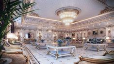 Classic Men Majlis in cold tones. Dubai, Mansion Interior, House Front Design, Interior Design Companies, Classic Interior, House Rooms, Bed Design, Luxury Homes, Luxury Mansions