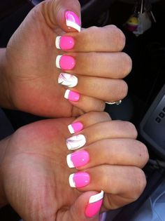 ♡nail design♥   French Manicure with hot pink nails... cute for Valentine's Day