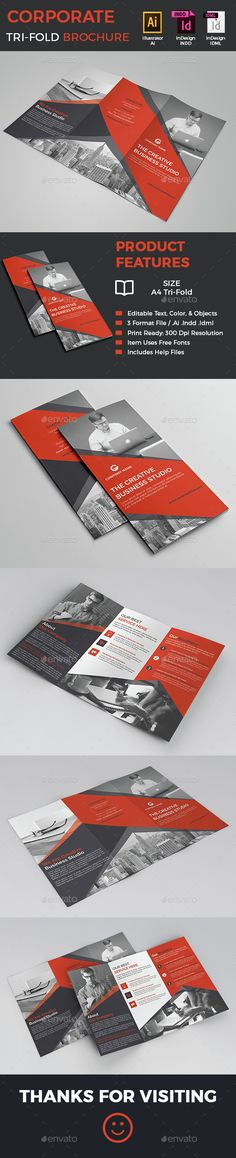 Corporate Tri-Fold Brochure Template INDD, Vector AI. Download here: http://graphicriver.net/item/corporate-trifold-brochure/15247587?ref=ksioks