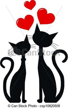 Vector - two black cats in love - stock illustration, royalty free illustrations, stock clip art icon, stock clipart icons, logo, line art, EPS picture, pictures, graphic, graphics, drawing, drawings, vector image, artwork, EPS vector art