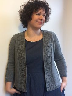 Ladies cardigan with slightly flared shaping (lower edge is approx 10cm wider than bust).