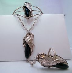 Unique Black Onyx & Sterling Silver Vintage Navajo Slave Bracelet w/ Applied Leaves and Handmade Chain Complete withSize 7 Ring. OOAK - pinned by pin4etsy.com