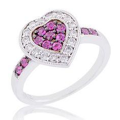 #Malakan #Jewelry - Silver Pink #Sapphire Heart-Shaped Ring  56362A5 #Fashion #FashionRings #WomensFashion