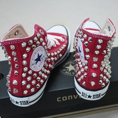 Genuine CONVERSE Black with studs & chains All-star Chuck   Etsy Studded Converse, Studded Sneakers, Converse Sneakers, Converse All Star, Bling Converse, Tenis Tipo All Star, Pullover Shirt, Spike Shoes, Athleisure