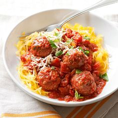 Roasted Spaghetti Squash with Meatballs - The spaghetti squash in my garden and some boca meatballs = dinner delicious!