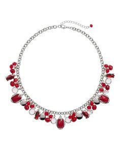 Red Fringe Short Necklace