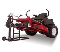 Product experts at lawn mowers direct show you how to safely lift a heavy lawn tractor. With the use of a lawn mower maintenance lift, you can lift tractors and zero turn mowers up to 750 lbs. and service them yourself. This is the safest, easiest way to lift a lawn mower.