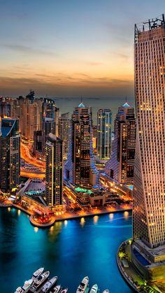 Beautiful night in Dubai, UAE