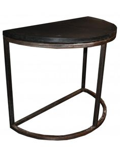 Demi Lune Stone Console w/ Metal - Console Tables - Accent Furniture - Living Room