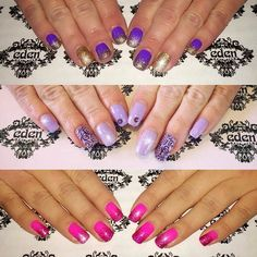 purple pink lilac glitter shellac polish nail art sparkle