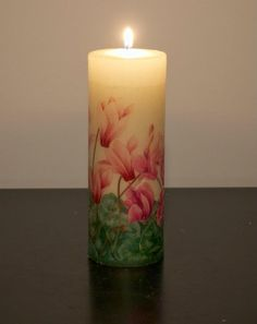 decoupage candle, homemade candle