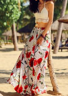 floral maxi and that crochet halter