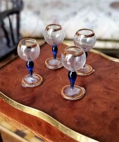 DOLLHOUSE MINIATURE SET OF FOUR WINE GLASSES BY THE ARTISAN FRANCIS WHITTEMORE.   eBay!