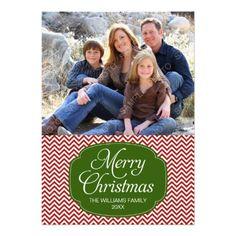 Modern Red Green Chevron Christmas Photo Card
