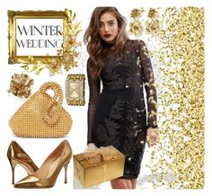 """GOLDEN"" by carolsha on Polyvore featuring Miss Selfridge, Sergio Rossi, Natasha Accessories, Oscar de la Renta and GUESS"