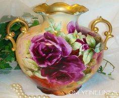 D'Arcy Studio Hallmark Pillow Vase Antique Dishes, Antique China, Painted Vases, Hand Painted, Limoges China, Architecture Art Design, Rose Vase, Beautiful Flower Arrangements, Vintage Bottles