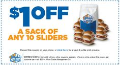 WHITE CASTLE $$ Reminder: Coupon to Save $1 off a Sack of Any 10 Sliders – Expires TODAY (10/31)!