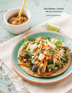 Thai Chicken Tostada with Spicy Peanut Sauce - The Adventures of MJ and Hungryman