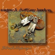 Citrine and Champange Knockers Antiqued by ThePurpleLilyDesigns