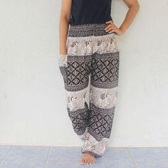 black elephant and cream rayon harem pants  size by meatballtheory