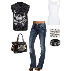 """Rock Chic"" created by American Vintage Rock Revival Juicy Couture.I want those jeans & shoes! Swag Outfits, Cool Outfits, Fashion Outfits, Womens Fashion, Fashion Trends, Rocker Girl, Rocker Style, Affliction Clothing, Punk Rock Fashion"