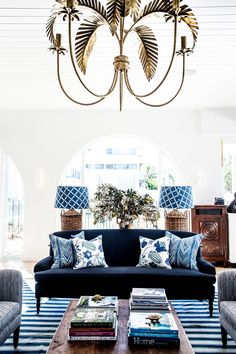 Blue and white: The bright and airy lobby of Halcyon House, in Australia's seaside town of Cabarita Beach.
