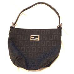 Fendi baguette Black fabric monogram small baguette. Comes with dust bag. FENDI Bags Satchels