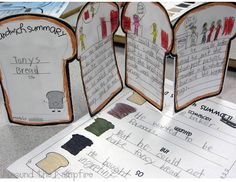 "Writing ""sandwich summaries"" for Tony's Bread duriing our Tomie dePaola author study. Post includes a FREE SWBST summary writing tool. From a 4-part blog series on teaching with Tomie dePaola books 