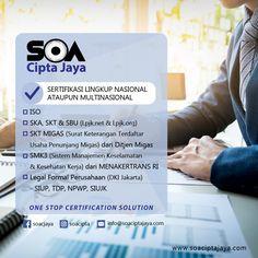 PT. SOA Cipta Jaya adalah perusahaan yang bergerak di bidang sertifikasi nasional maupun multinasional. Produk jasa kami: Ska, skt, iso, sbu dan lainnya. Kelengkapan berkas sertifikasi sangat penting bagi keberhasilan bisnis anda.  office : Jl. Meruya Utara No. 65A Meruya Utara, Kembangan, Jakarta Barat T:(021) 22542483 E:info@soaciptajaya.com