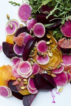 watermelon radish + multi-beet salad with pistachios, grapefruit, + arugula