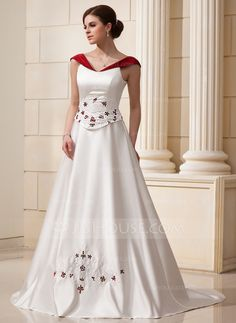 [US$ 186.99] A-Line/Princess Off-the-Shoulder Chapel Train Satin Wedding Dress With Beading Flower(s)