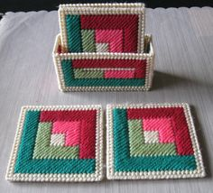 Discover thousands of images about Log Cabin Coasters & Holder SetDiscover thousands of images about Simple plastic canvas using 5 colors and knitting yarn. Plastic Canvas Stitches, Plastic Canvas Coasters, Plastic Canvas Tissue Boxes, Plastic Canvas Crafts, Plastic Canvas Patterns, Etsy Quilts, Quilted Coasters, Bargello Quilts, Plastic Canvas Christmas
