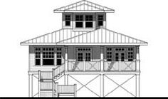Beach Style House Plans - 2341 Square Foot Home, 2 Story, 2 Bedroom and 2 3 Bath, 0 Garage Stalls by Monster House Plans - Plan 39-126