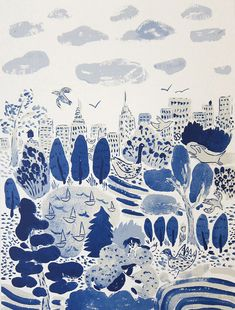 manhattan and central park and blue and white - together as one